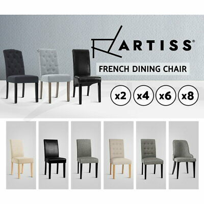 2/4/6/8x Artiss French Provincial Dining Chairs Fabric Leather Wood Cafe Kitchen