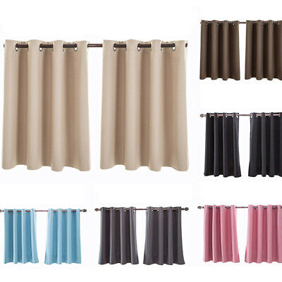 1Pair Thermal Insulated Eyelet Foam Lined BLOCKOUT Short Valance Window Curtains