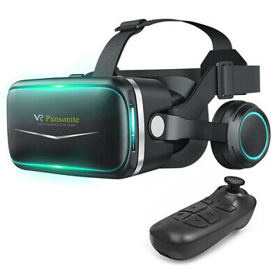3D Virtual Reality PC VR Gaming Headset Movie Glasses Smartphones + Remote