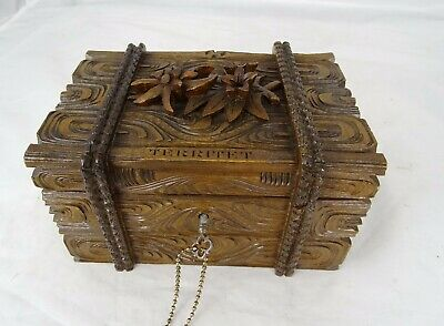 Antique Swiss Black Forest Carved Wood Jewellery Box/Trinket Box -  Edelweiss
