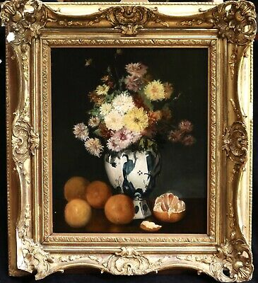 19th CENTURY LARGE FRENCH STILL LIFE OIL ON CANVAS - FRUIT & FLOWERS - SIGNED