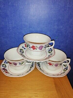 Adams Old Colonial Large cups & saucers x 3