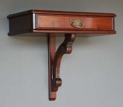 Australian colonial cedar hall console table hanging wall bracket drawer signed