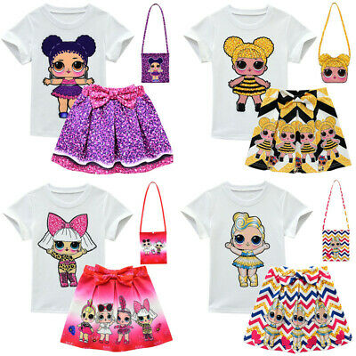 3pc LOL Surprise Dolls Girls Short Sleeve T Shirt+Pleated Skirts Outfit with Bag