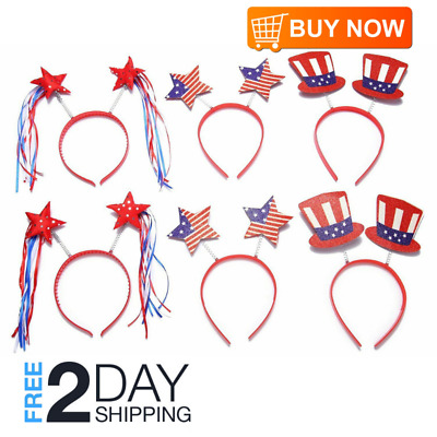 4th of July Party Accessories Moon Boat Head Boppers Headband,Star/Uncle Sam Hat