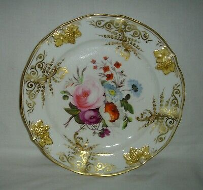 Stunning Quality Antique Coalport Hand Painted Plate Flowers & Fine Gold Gilding