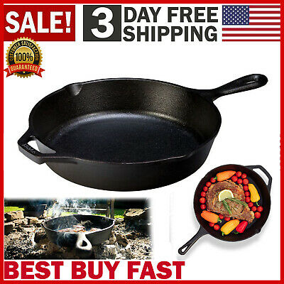 Cast Iron Skillet 10.25 Oven Fry Pan Pot Cookware Pre-seasoned Cast Iron Skillet