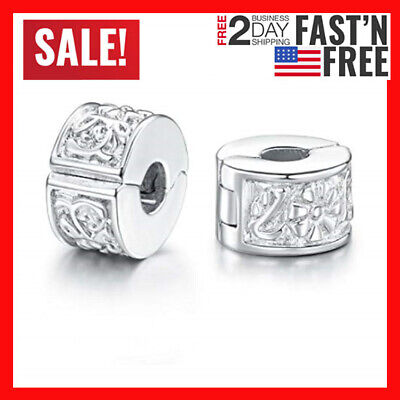 e73669ba8 Bracelet Charm Bead Stopper Clip Lock European Spacer Authentic Pandora 2  Pcs