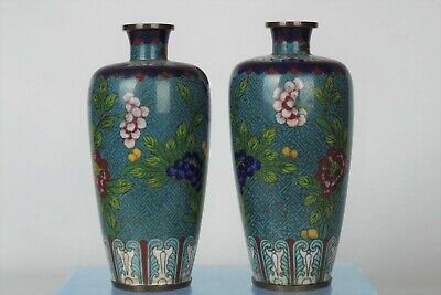 Pair of Fine Antique Chinese Qing Dynasty Cloisonne Vases