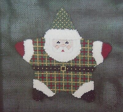 """Victorian Plaid Star Claus"" Fancy Carole handpainted needlepoint canvas kit"