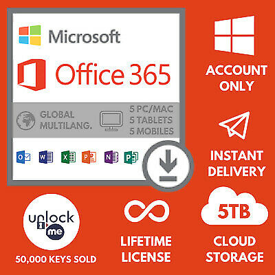 Microsoft Office 365 2016 2019 Pro account PC/Mac 32/64 bit 5TB User Lifetime