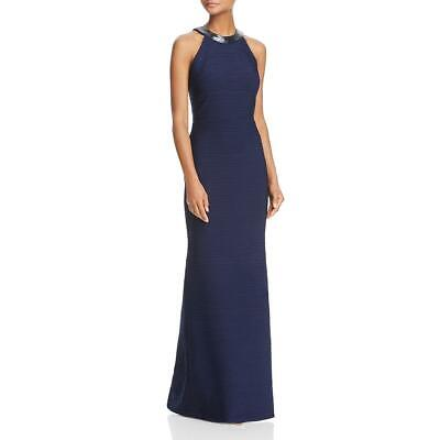 512820253607a3 Carmen Marc Valvo Womens Navy Ruched Beaded Evening Dress Gown 12 BHFO 9845