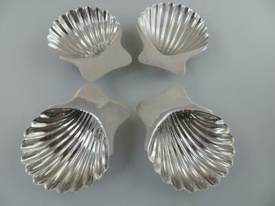 4 Nut, Candy Sea Shell Footed Dishes Sterling Silver Mexico