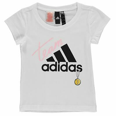 adidas ID Graphic T Shirt Youngster Girls Short Sleeve Performance Tee Top Crew