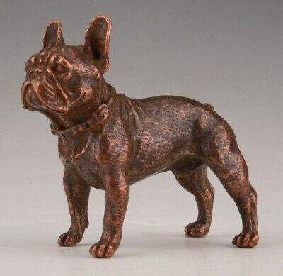 Rare Chinese Red Copper Handmade Carving Dog Animal Statue Old Collection