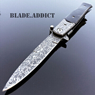 """8"""" TAC FORCE Italian Milano Damascus Stiletto Spring Assisted Pocket Knife -M3"""