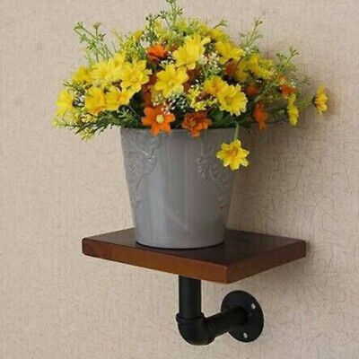 Retro Industrial Iron Pipe Shelf Bracket Wall Mounting Floating Holder