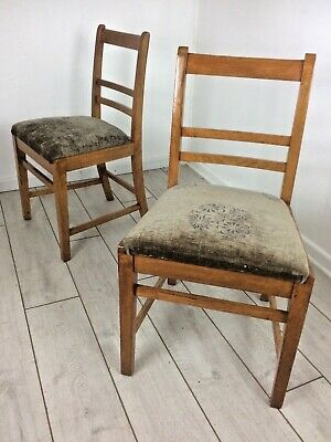 Pair of old vintage mid century solid oak Queens Crown Air Ministry desk chairs