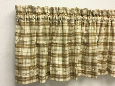 Handmade Country Primitive Mustard Golden Brown Homespun Valance Rustic Decor