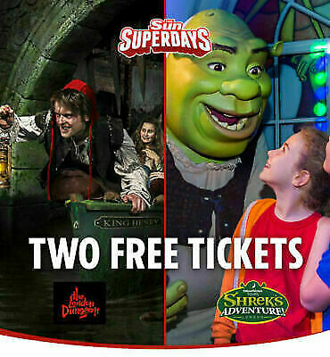 2  x LONDON DUNGEON OR SHREK's ADVENTURES, BOOKING CODE **PICK YOUR OWN DATES**