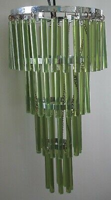 Mid Century-Hollywood Regency or Late Deco Green Lucite Small Chandelier