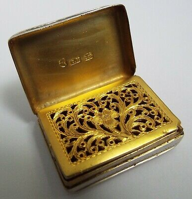 Beautiful English Antique Georgian 1821 Solid Sterling Silver Vinaigrette Box