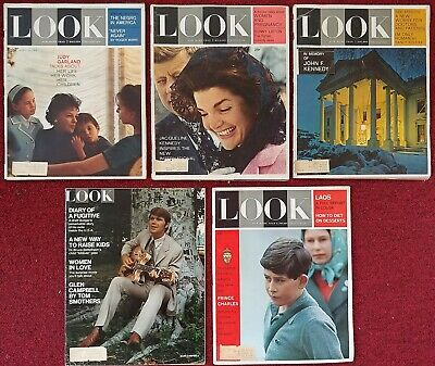 LOOK Magazine 5 ISSUE SET Judy Garland JFK Jackie O Kennedy Young Prince Charles