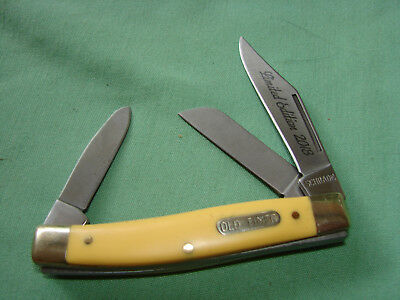 Schrade 80T Old Timer 3 Blade  Stockman Knife Yellow Limited