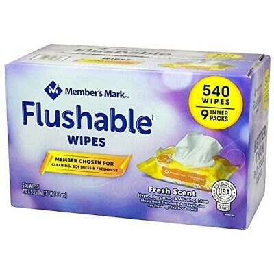 Member's Mark Flushable Wipes (9 pk, 540 wipes) Free Shipping