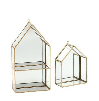 Wall Shelf /Rack Hexagon Brass and Glass (Large and Small )
