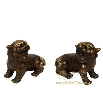 Pair of Vintage Chinese Bronze Foo Dog Statues