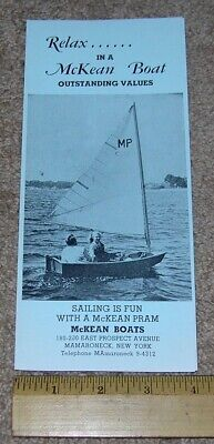 MCKEAN SAILBOAT BOAT Pram Dealer Sales Brochure BLUE-JAY, GHOST SLOOP  1940's ?