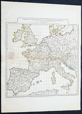 1794 Laurie & Whittle Large Antique Map Western Europe Italy, Spain, France, UK