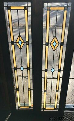 "Antique Stained Leaded glass Bookcase Cabinet Doors 45"" x 12"""