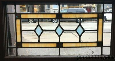 "1 of 2 Antique Stained Leaded Glass Transom Window 24"" by 14"""