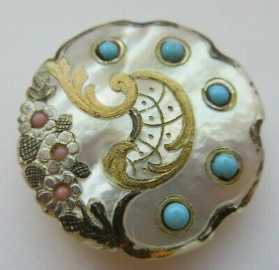 DELUXE LARGE Antique~ Vtg Carved MOP Shell BUTTON w/ Turquoise & Pink GLASS (J)