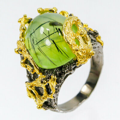 Fine Art Jewelry28ct+ Natural Prehnite 925 Sterling Silver Ring Size 7.25/R27932