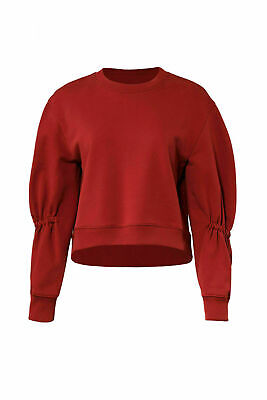 205cf419a9a Tibi Red Women's Size Small S Ruched Sleeve Crop Crewneck Sweater $250- #867