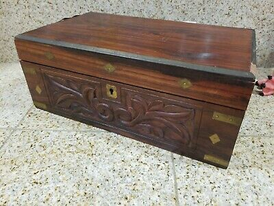 Old Larg Carved Asian Box Traveling Desk Rosewood Old Surface Brass Inlay 19Th C