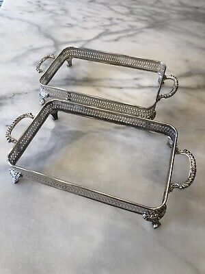 Pair of Casserole Stand Holder 1883 FB Rogers Silverplate Vintage Footed