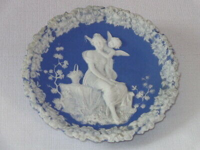 Antique German Blue & White Jasperware Bisque Plaque with Cupid