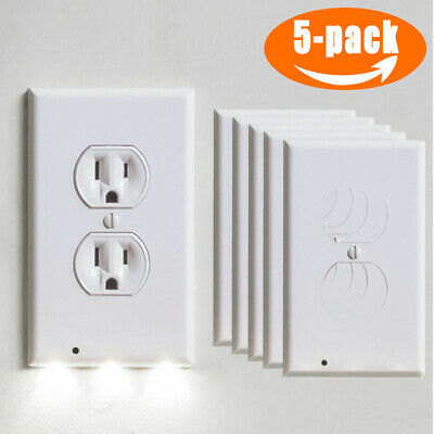 5PCS Wall Outlet Plug Cover Plate LED Night Light Auto Switch ON/OFF Socket