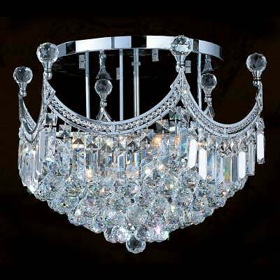 French Empire 9-light Chrome Finish Crystal 20-inch Round Flush Mount Ceiling