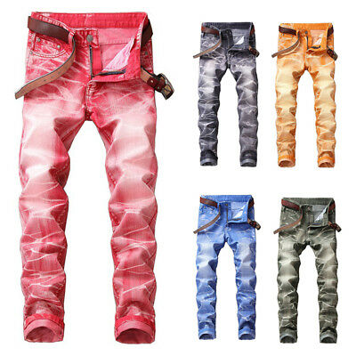Mens Stretch Skinny Jeans Slim Fit Distressed Biker Denim Pants Casual Trousers