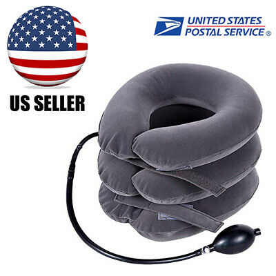 Cervical Collar Traction Neck Relief Brace Support Stretcher Inflatable Grey