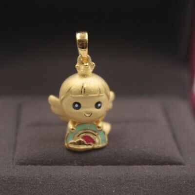 Real 999 Real 24K 3D Yellow Gold Pendant Lady Women Rainbow Angel Jewelry Gift