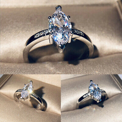 1E21 925 Sterling Silver Plated cubic zirconia Wholesale Jewelry Wedding Ring Ri