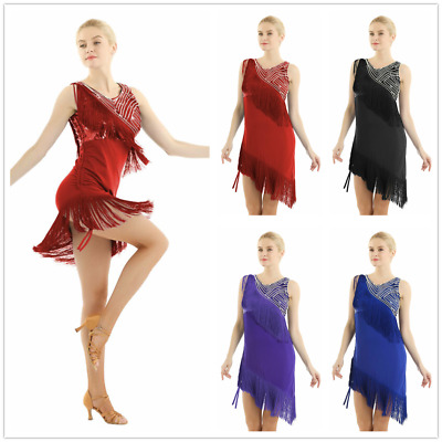 Women's Latin Dance Dress Costume Sequined Dacce Tassel Fringe Dress + Shorts