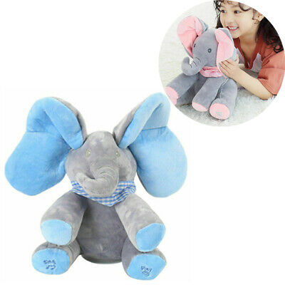 Baby Peek-a-boo Singing Elephant Plush Music Animated Soft Toys Kids Gift Fun UK