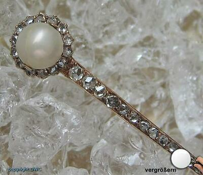 Diamantnadel Gold Nadel 18Kt 750 Gold Diamanten Brillanten Diamant Rosen Perle .